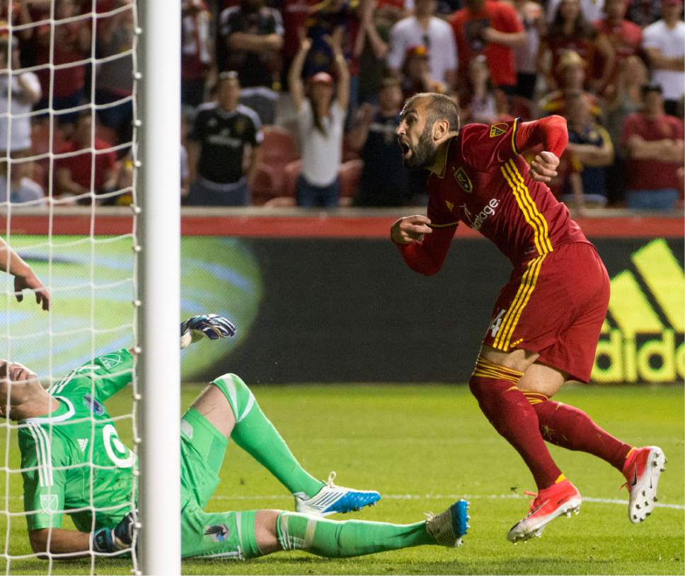 Rick Egan  |  The Salt Lake Tribune   Real Salt Lake forward Yura Movsisyan (14), scores the winning goal in MLS soccer action at Rio Tinto Stadium, Saturday, June 17, 2017.