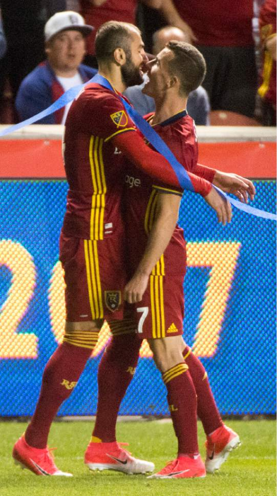 Rick Egan  |  The Salt Lake Tribune  Real Salt Lake forward Brooks Lennon (27) congratulates  the goal by Real Salt Lake forward Yura Movsisyan (14), in MLS soccer action at Rio Tinto Stadium, Saturday, June 17, 2017.