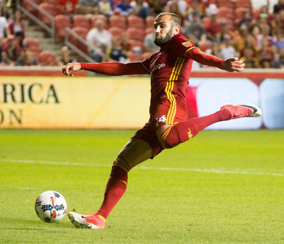 Rick Egan  |  The Salt Lake Tribune  Real Salt Lake forward Yura Movsisyan (14) takes a shot, in MLS action at Rio Tinto Stadium, Saturday, June 17, 2017.