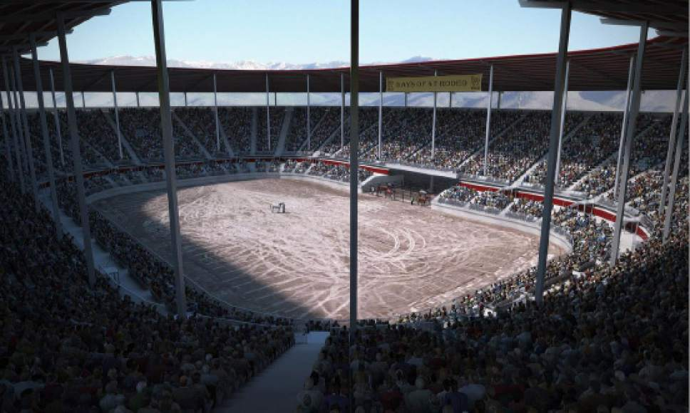 Courtesy  |  Utah State Fair Board  Artist rendering of proposed new 10,000-seat stadium.