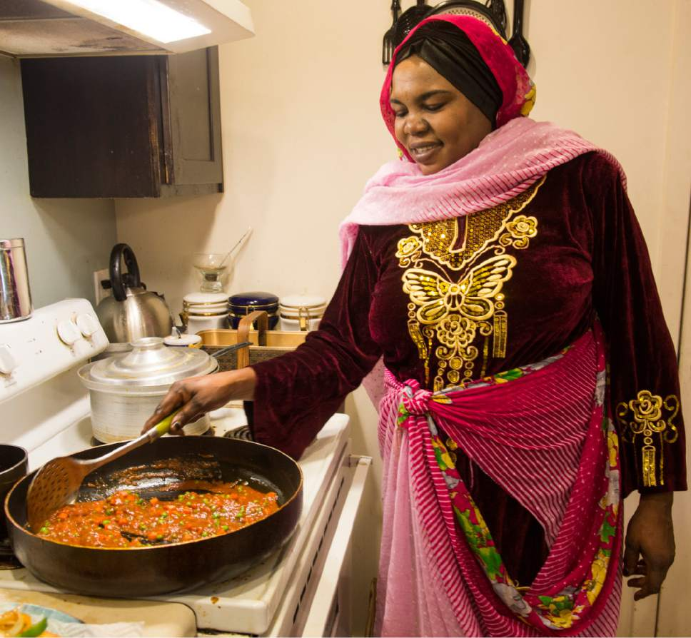 Rick Egan  |  The Salt Lake Tribune  Kaltum Mohamed cooks fresh vegetables as she prepares one of her recipes from her native Sudan in her South Salt Lake apartment Monday, April 24, 2017.