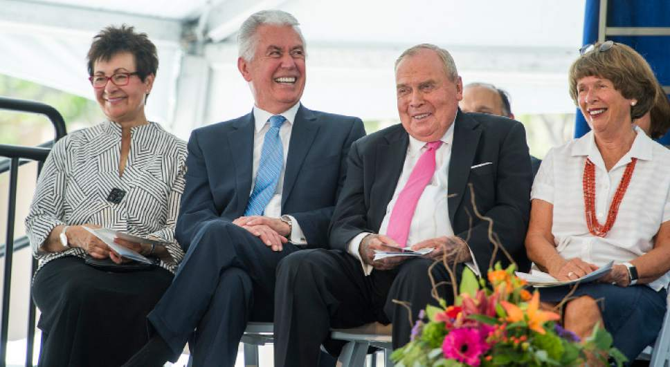 Leah Hogsten  |  The Salt Lake Tribune  l-r Harriet Reich Uchtdorf, Dieter F. Uchtdorf, Second Counselor in the First Presidency of The Church of Jesus Christ of Latter-day Saints HCI founder and cancer survivor Jon M. Huntsman Sr. and wife Karen Huntsman share a laugh at the comments of their son Peter Huntsman, CEO of the Huntsman Cancer Foundation during the ceremony, which fell on Huntsman's 80th birthday. Huntsman Cancer Institute (HCI) dedicated the Primary Children's and Families' Cancer Research Center, a world-class facility dedicated to advancing cancer research and patient care, June 21, 2017.