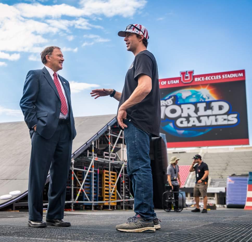 Courtesy Nitro World Games  Utah Gov. Gary Herbert and Nitro World Games co-founder Travis Pastrana talk at Rice-Eccles Stadium on Wednesday.