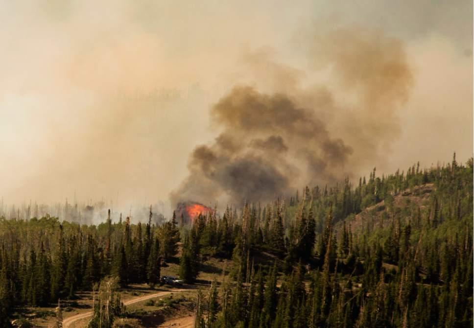 Rick Egan     The Salt Lake Tribune  The Brian Head fire continues to burn north of near the southern Utah ski town of Brian Head, Wednesday, June 21, 2017.