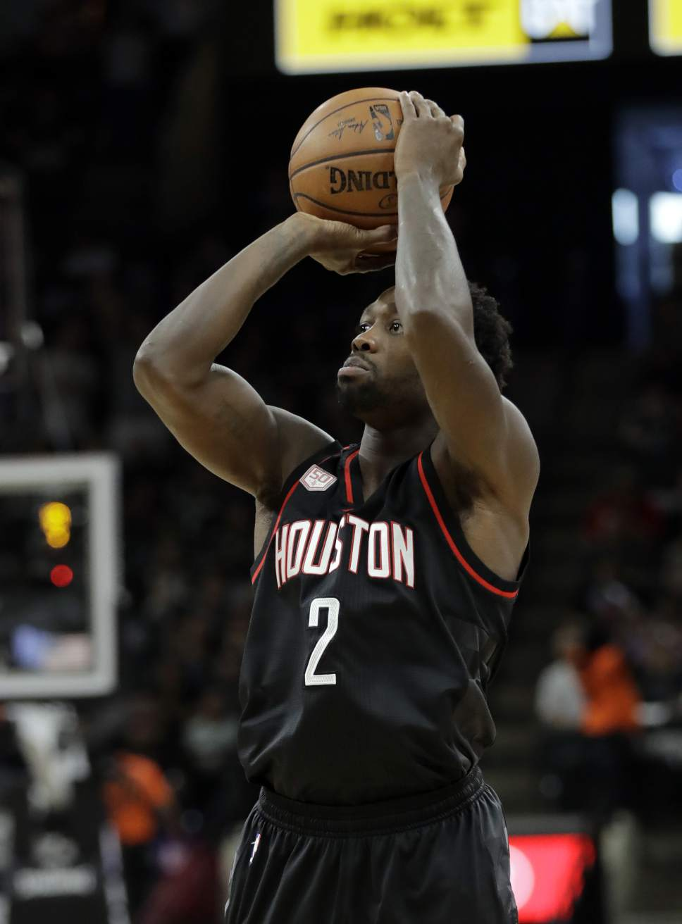 Houston Rockets' Patrick Beverley (2) attempts a shot during the first half in Game 5 of an NBA basketball second-round playoff series, Tuesday, May 9, 2017, in San Antonio. (AP Photo/Eric Gay)