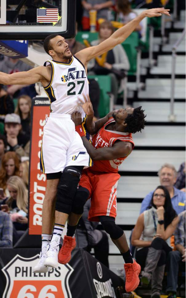 Steve Griffin  |  The Salt Lake Tribune   Utah Jazz center Rudy Gobert (27) blocks the shot of Houston Rockets guard Patrick Beverley (2) during the Utah Jazz versus Houston Rockets game at Vivint Smart Home Arena in Salt Lake City, Tuesday, February 23, 2016. Gobert was called for a foul on the play.