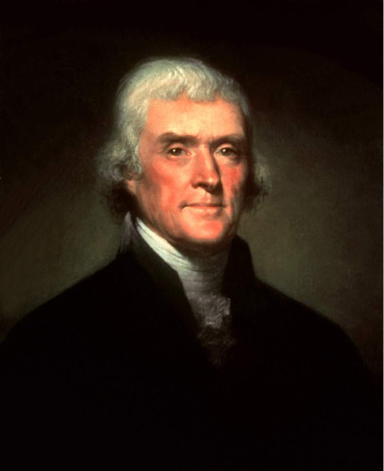 |  White House Historical Association  Portrait of President Thomas Jefferson by Rembrandt Peale dated 1800.