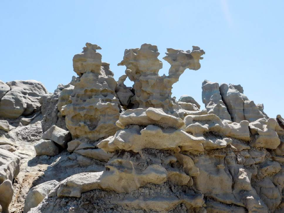 Erin Alberty  |  The Salt Lake Tribune   A ghoulish rock formation stands in Fantasy Canyon near Vernal. According to literature at the trailhead, the formations are evil creatures frozen in rock as punishment for harming the land. Photo taken May 28, 2017.