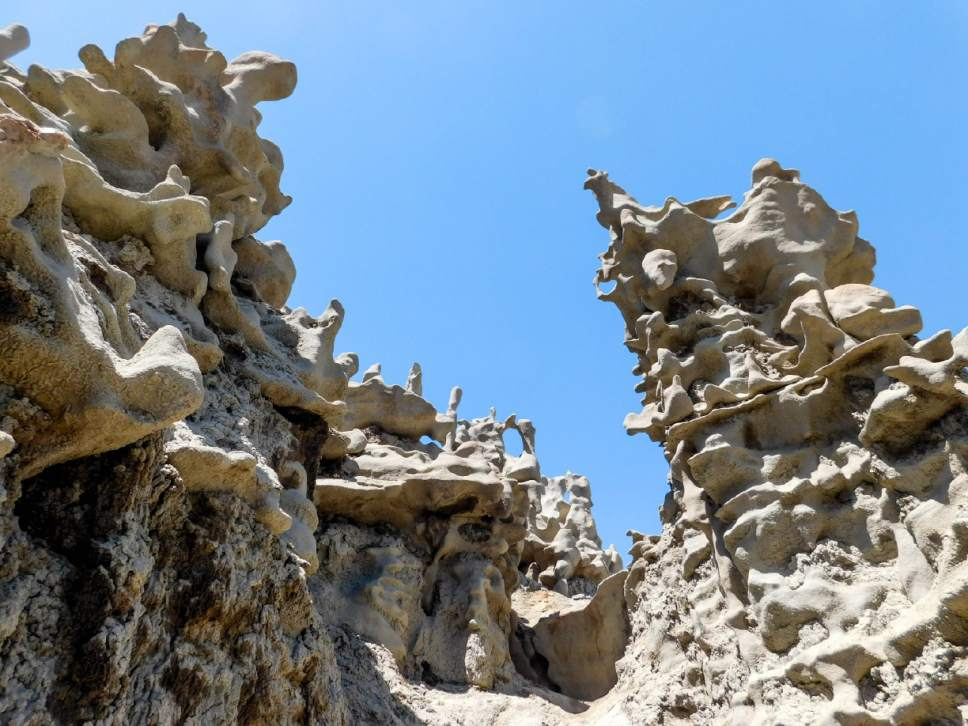 Erin Alberty  |  The Salt Lake Tribune   Sandstone rock formations fill Fantasy Canyon near Vernal. Photo taken May 28, 2017.