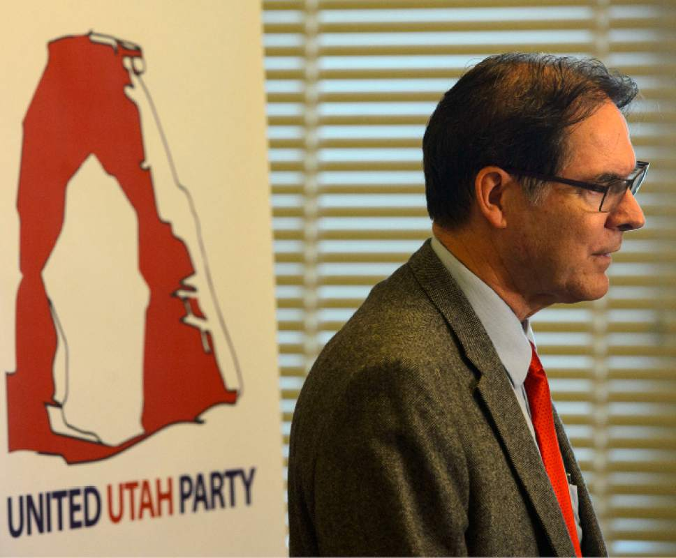 Steve Griffin  |  The Salt Lake Tribune Richard Davis is helping to organize a new centrist party of disaffected Republicans and Democrats called the Utah United Party. Organizers as well as several former GOP and Democratic leaders announced the new party during a press conference in the Centennial Room at the State Capitol in Salt Lake City Monday May 22, 2017.