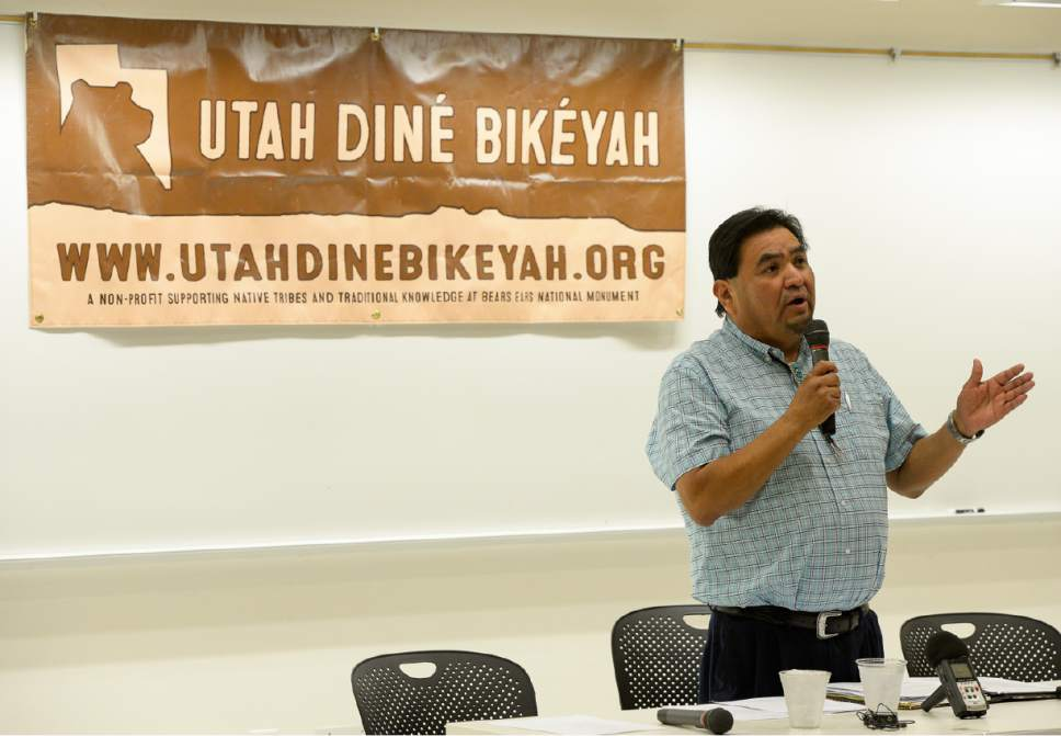 Francisco Kjolseth | The Salt Lake Tribune In response to Secretary Zinke's Interim Report recommending the shrinking of the Bears Ears National Monument, James Adakai, Oljato Chapter President and BEITC Commissioner joins Native American community leaders who traveled to Salt Lake City to explain why Native Americans in San Juan County are fighting to preserve Bears Ears National Monument during a panel discussion at the University of Utah, Thursday, June 22, 2017.