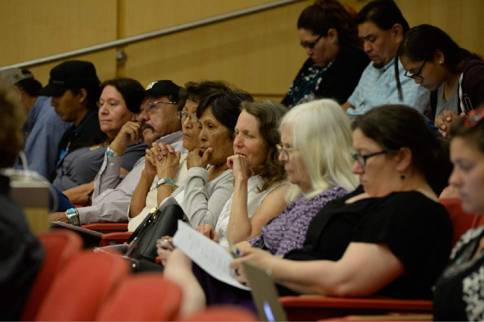 Francisco Kjolseth | The Salt Lake Tribune In response to Secretary Zinke's Interim Report recommending the shrinking of the Bears Ears National Monument, Native American community leaders travel to Salt Lake City to explain why Native Americans in San Juan County are fighting to preserve Bears Ears National Monument during a panel discussion at the University of Utah, Thursday, June 22, 2017.