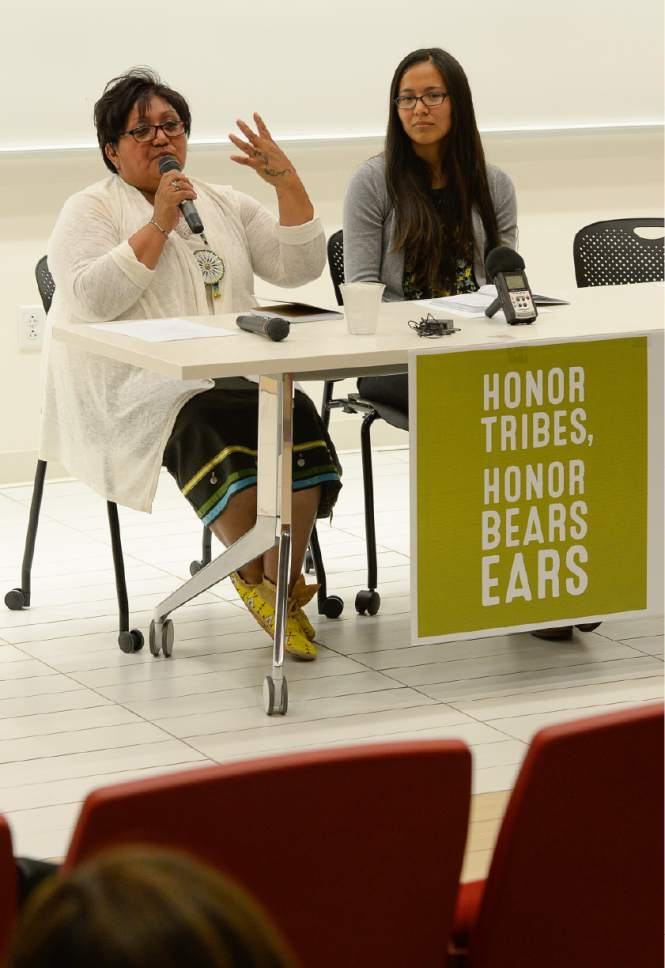 Francisco Kjolseth | The Salt Lake Tribune Regina Lopez-Whiteskunk, Former Co-Chair, Bears Ears Inter-Tribal Coalition and Ute Mountain Tribal Council member, left, is joined by Cynthia Wilson, Traditional Foods Program Director, UDB as they speak in response to Secretary Zinke's Interim Report recommending the shrinking of the Bears Ears National Monument. Native American community leaders traveled to Salt Lake City to explain why Native Americans in San Juan County are fighting to preserve Bears Ears National Monument during a panel discussion at the University of Utah, Thursday, June 22, 2017.