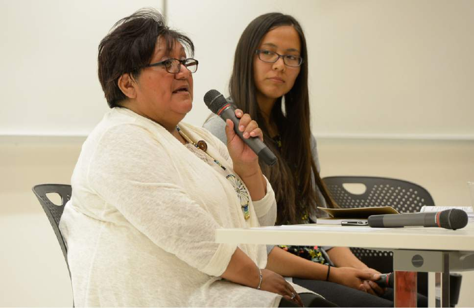 Francisco Kjolseth  |  The Salt Lake Tribune Regina Lopez-Whiteskunk, Former Co-Chair, Bears Ears Inter-Tribal Coalition and Ute Mountain Tribal Council member, left, is joined by Cynthia Wilson, Traditional Foods Program Director, UDB as they speak in response to Secretary Zinkeís Interim Report recommending the shrinking of the Bears Ears National Monument. Native American community leaders traveled to Salt Lake City to explain why Native Americans in San Juan County are fighting to preserve Bears Ears National Monument during a panel discussion at the University of Utah, Thursday, June 22, 2017.