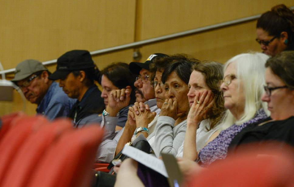 Francisco Kjolseth | The Salt Lake Tribune In response to Secretary Zinke's Interim Report recommending the shrinking of the Bears Ears National Monument, Native American community leaders traveled to Salt Lake City to explain why Native Americans in San Juan County are fighting to preserve Bears Ears National Monument during a panel discussion at the University of Utah, Thursday, June 22, 2017.