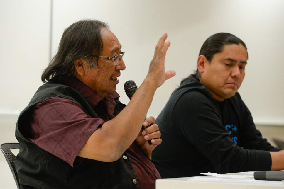 Francisco Kjolseth | The Salt Lake Tribune Jonah Yellowman, left, spiritual advisor for the Utah DinÈ BikÈyah, describes a deep connection to the land alongside Eric Descheenie, former Co-Chair Bears Ears Inter-Tribal Coalition, during a discussion In response to Secretary Zinkeís Interim Report recommending the shrinking of the Bears Ears National Monument. The Native American community leaders traveled to Salt Lake City to explain why Native Americans in San Juan County are fighting to preserve Bears Ears National Monument during a panel discussion at the University of Utah, Thursday, June 22, 2017.