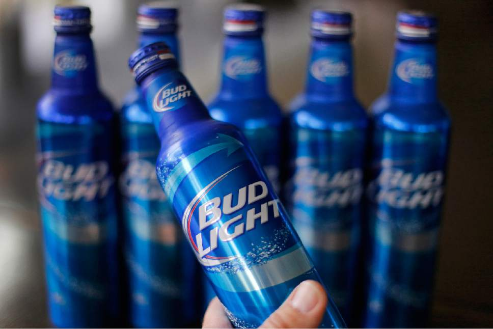 FILE - In this Monday, April 7, 2014, file photo, aluminum bottles of Bud Light beer are on display at Alcoa headquarters in Pittsburgh.. (AP Photo/Gene Puskar, File)