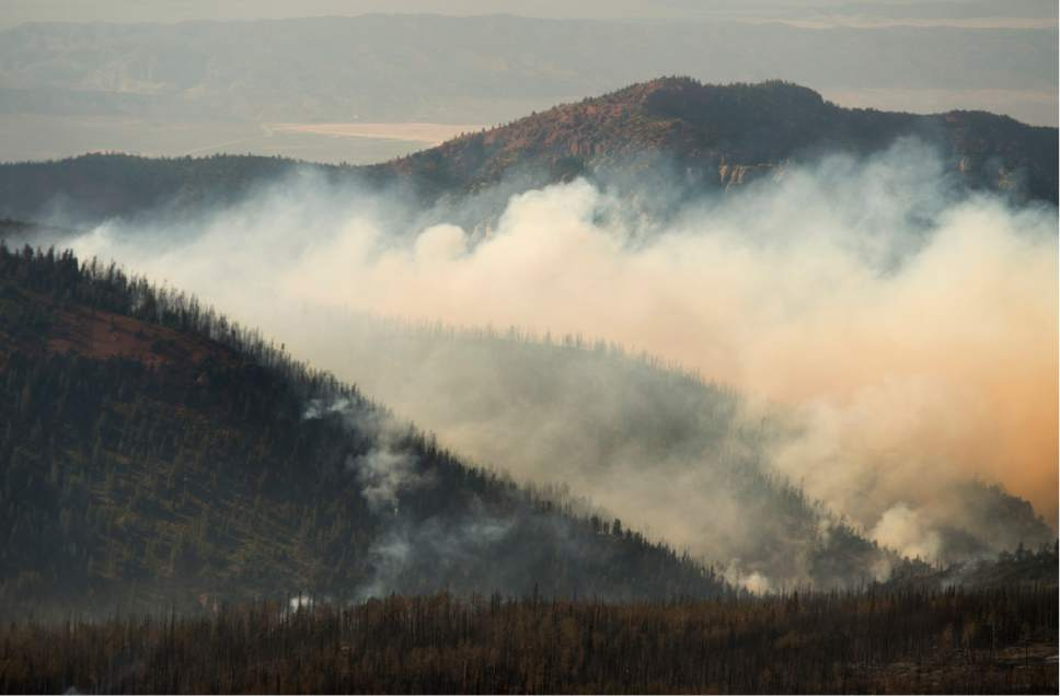 Rick Egan     The Salt Lake Tribune  The Brian Head fire continues to burn north Steam Engine Meadows, near Brian Head ski resort , Wednesday, June 21, 2017.