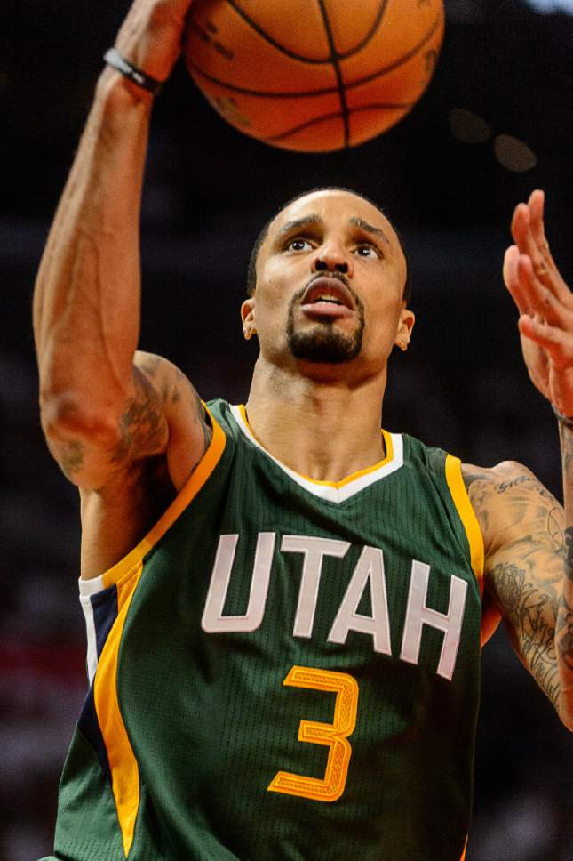 Trent Nelson  |  The Salt Lake Tribune Utah Jazz guard George Hill (3) shoots the ball as the Utah Jazz face the Los Angeles Clippers in Game 7 at Staples Center in Los Angeles, Calif., Sunday April 30, 2017.