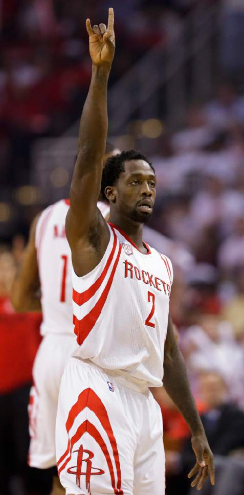 Houston Rockets guard Patrick Beverley (2) reacts after making a 3-point basket during the first half in Game 3 of an NBA basketball second-round playoff series against the San Antonio Spurs, Friday, May 5, 2017, in Houston. (AP Photo/Eric Christian Smith)