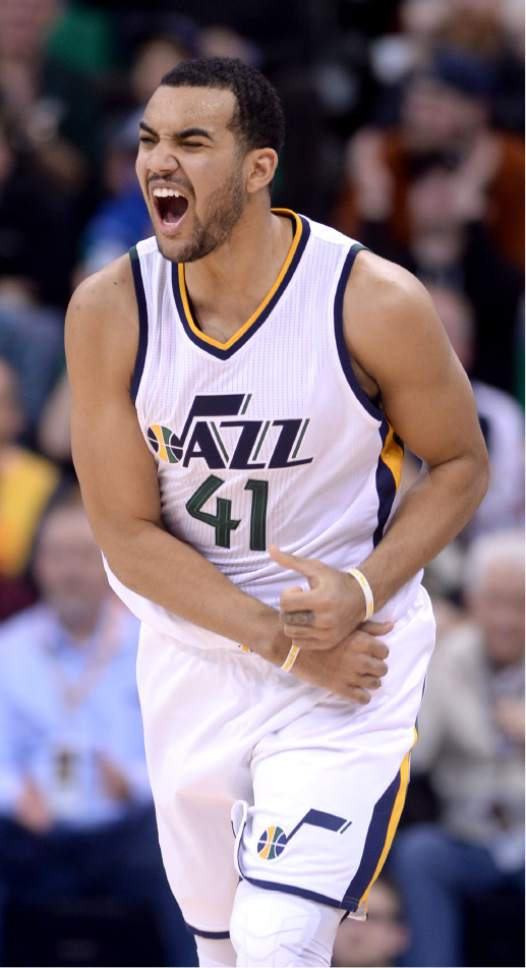 Steve Griffin / The Salt Lake Tribune  Utah Jazz forward Trey Lyles (41) screams with excitement after nailing a three-pointer late in the fourth quarter extending the Jazz lead during the Utah Jazz versus Cleveland Cavaliers NBA basketball game at Vivint Smart Home Arena in Salt Lake City Tuesday January 10, 2017.