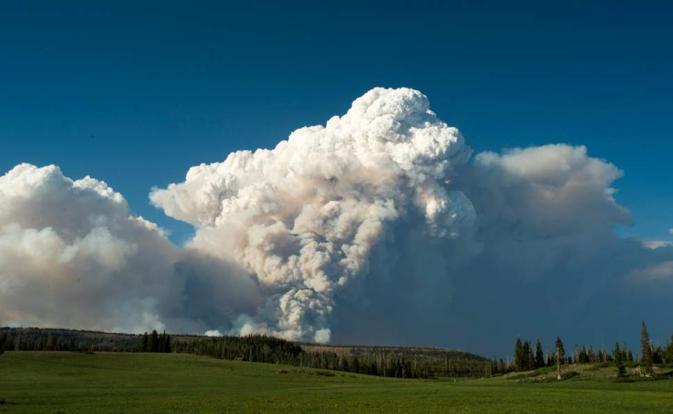 Rick Egan  |  The Salt Lake Tribune  Smoke billows into the sky near the southern Utah ski town of Brian Head, Wednesday, June 21, 2017.
