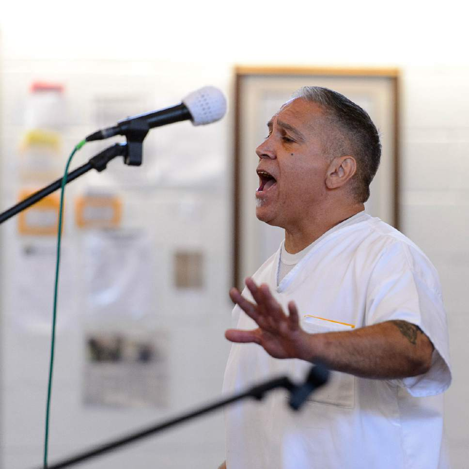 "Trent Nelson  |  The Salt Lake Tribune Anthony Duran sings ""Some Kind of Wonderful"", as inmates at the Utah State Prison put on their Spring Recital, Saturday June 24, 2017, as part of the Wasatch Music Education Program."