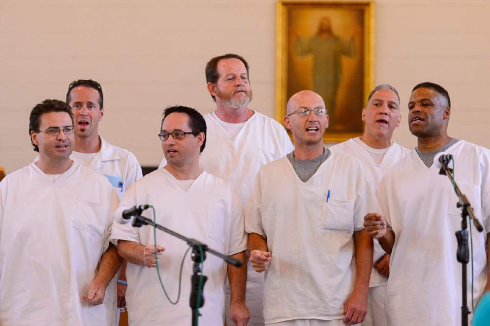 Trent Nelson  |  The Salt Lake Tribune A choir performs as inmates at the Utah State Prison put on their Spring Recital, Saturday June 24, 2017, as part of the Wasatch Music Education Program.