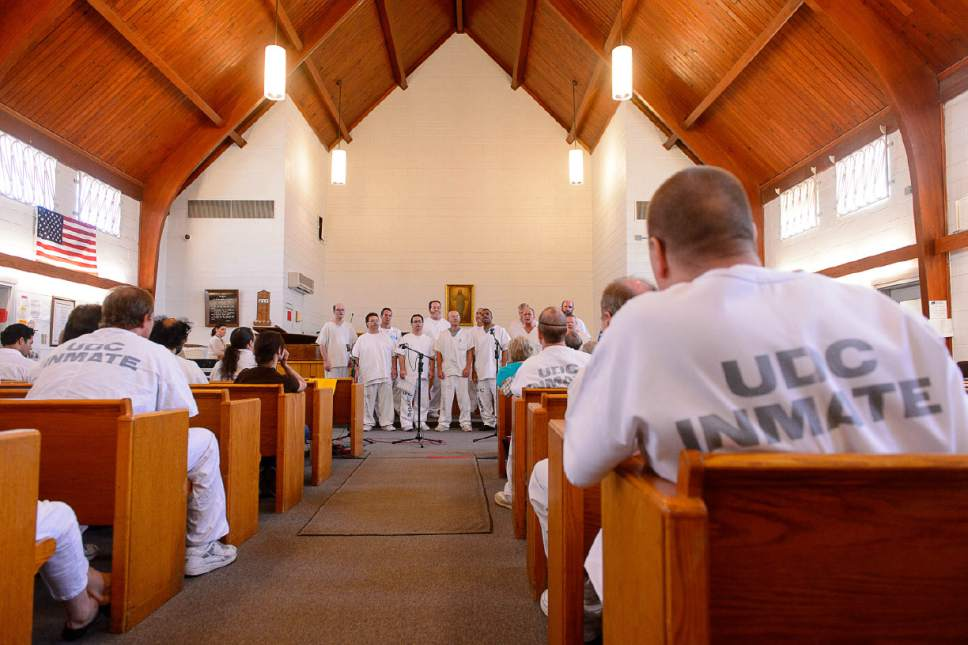 Trent Nelson  |  The Salt Lake Tribune Incarcerated men at the Utah State Prison  perform in a recital for the Wasatch Music Education Program at the Utah State Prison on Saturday directed by Mormon Tabernacle Choir director Mack Wilberg.