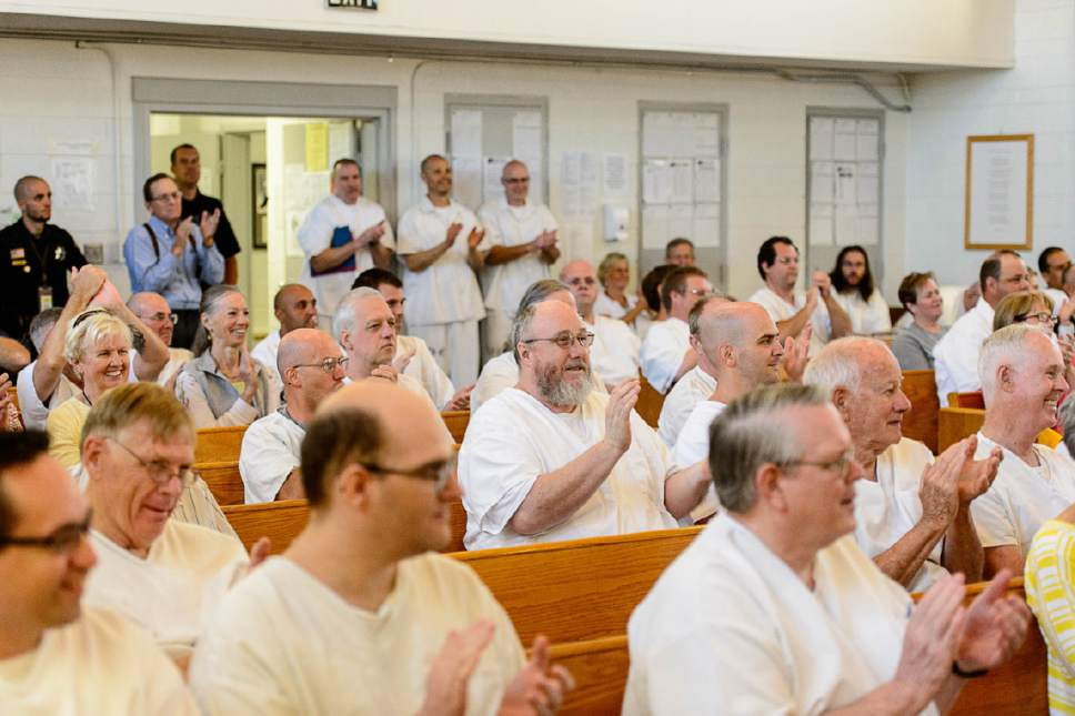 Trent Nelson  |  The Salt Lake Tribune Applause for a performance as inmates at the Utah State Prison put on their Spring Recital, Saturday June 24, 2017, as part of the Wasatch Music Education Program.