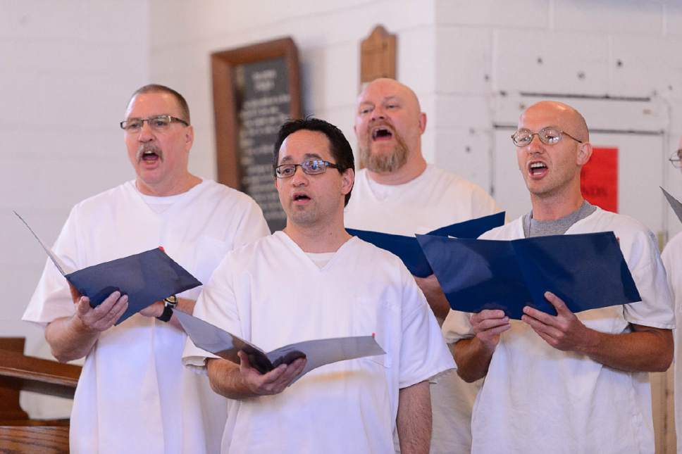 Trent Nelson  |  The Salt Lake Tribune Mack Wilberg directs a choir of inmates at the Utah State Prison during a Spring Recital, Saturday June 24, 2017, as part of the Wasatch Music Education Program.