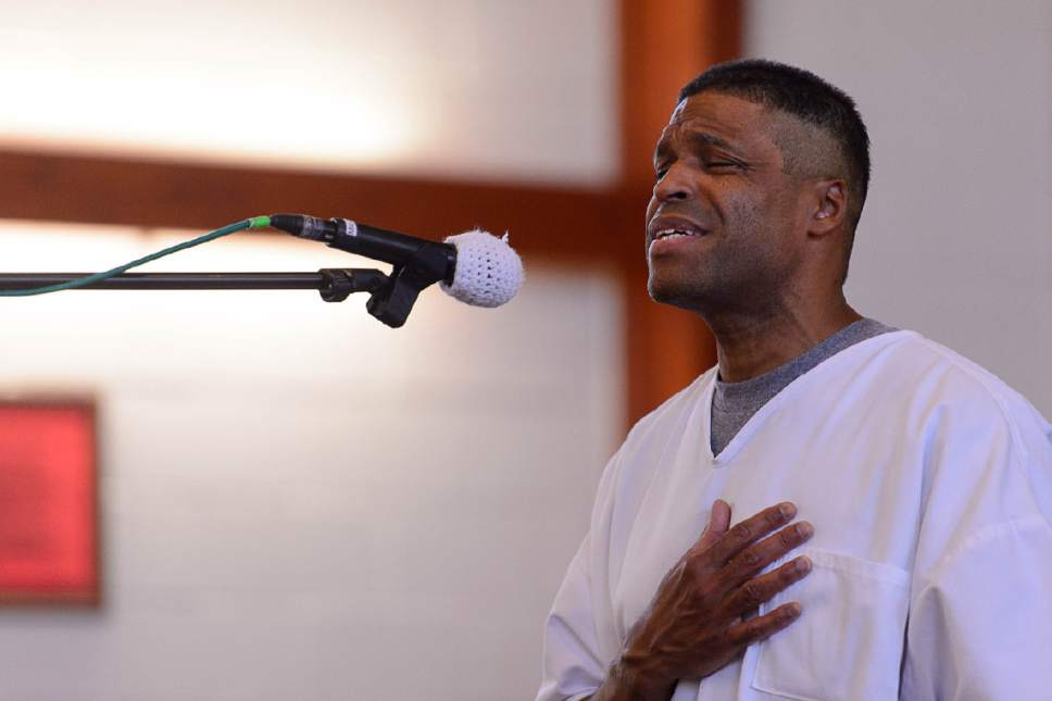 "Trent Nelson  |  The Salt Lake Tribune George Taylor sings ""When I Was Your Man"" as inmates at the Utah State Prison put on their Spring Recital, Saturday June 24, 2017, as part of the Wasatch Music Education Program."