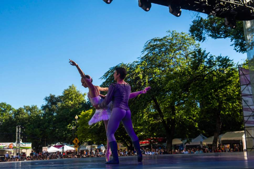 Chris Detrick  |  The Salt Lake Tribune Ballet West's Katherine Lawrence and Christopher Ruud perform during RUUDDANCES at the Utah Arts Festival Friday, June 23, 2017.
