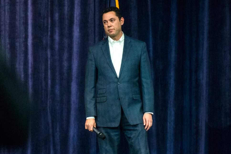 Chris Detrick  |   Tribune file photo Cottonwood Heights • U.S. Rep. Jason Chaffetz, R-Utah, pauses after being interrupted during the town-hall meeting in Brighton High School Thursday February 9, 2017.