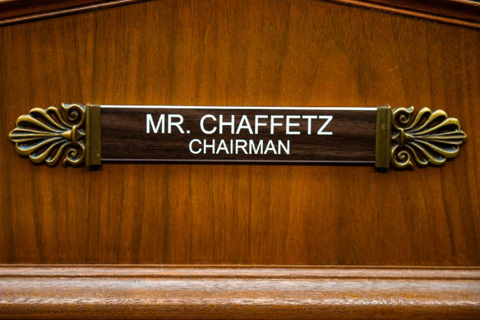Chris Detrick  |  The Salt Lake Tribune The name tag for Rep. Jason Chaffetz, R-Utah, in the Oversight Committee Room in the Rayburn House Office Building Thursday January 19, 2017.