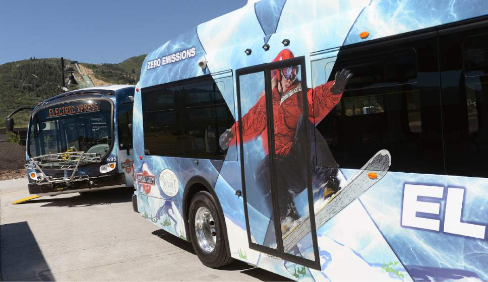 Al Hartmann  |  The Salt LakeTribune   Park City residents, town and county officals come out Friday, June 23, 2017, to see Utah's first all-electric bus fleet at the Kimball Junction Transit Center. New buses will create little noise, have fuel equivalency of 21.4 miles per gallon.