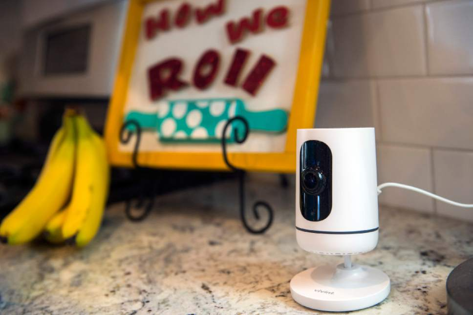 Chris Detrick  |  The Salt Lake Tribune The Ping camera in James and Aleisha McDaniel's Vivint Smart Home in South Jordan Thursday, June 8, 2017.
