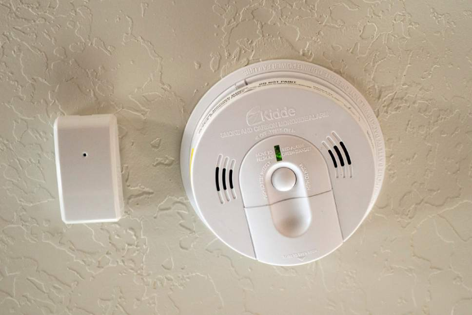 Chris Detrick  |  The Salt Lake Tribune Smoke and carbon monoxide detector in James and Aleisha McDaniel's Vivint Smart Home in South Jordan Thursday, June 8, 2017.
