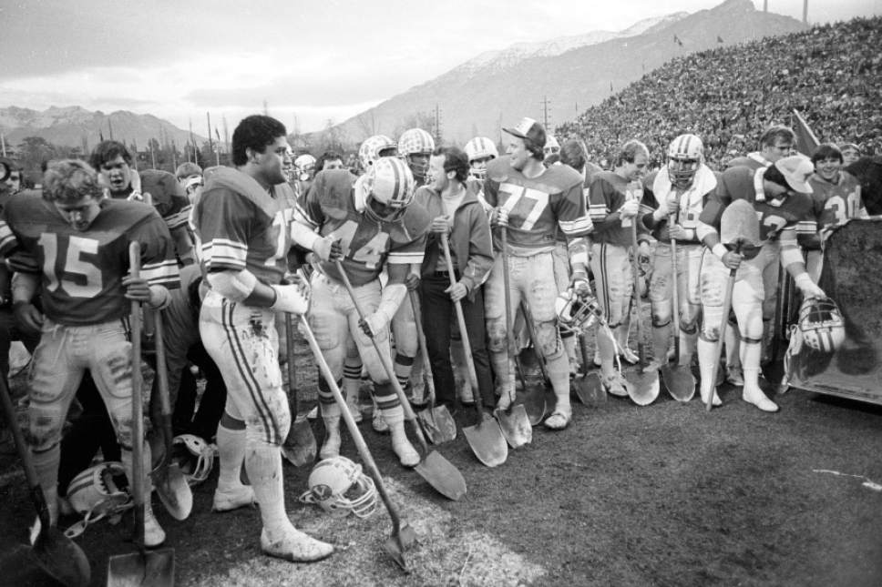 Mark Philbrick  |  BYU  Groundbreaking for Cougar Stadium expansion following the final game of 1981.