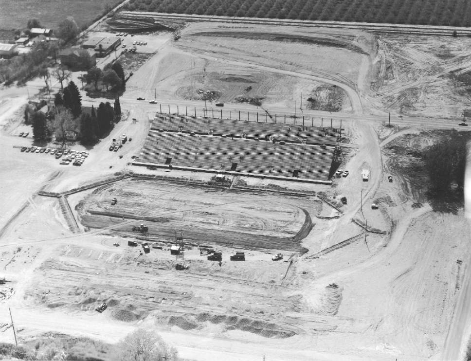 |  Courtesy  An Aerial view of the construction of Cougar Stadium in 1964.