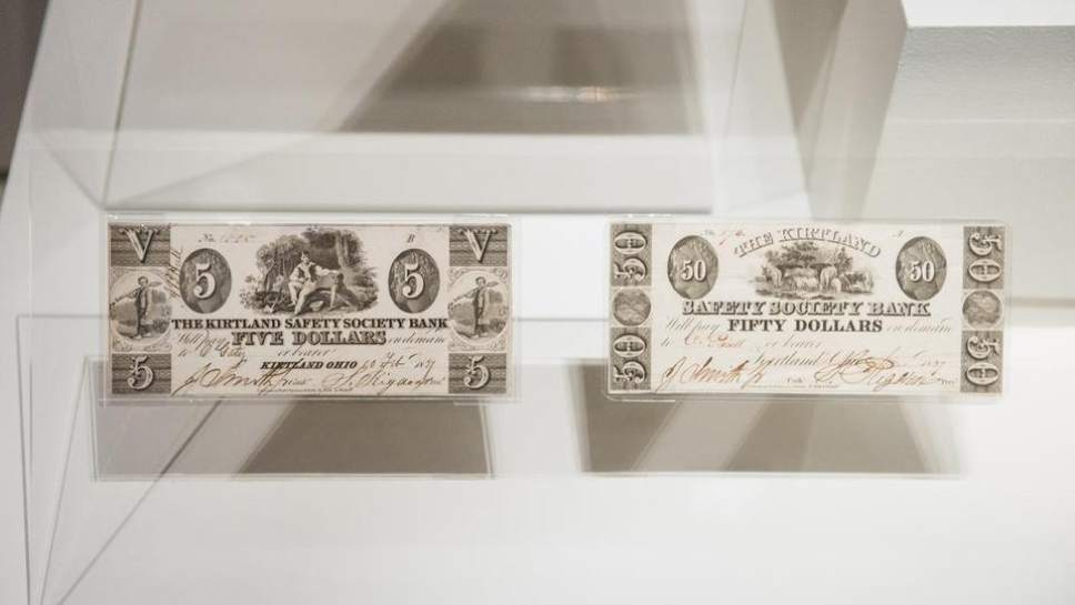 Courtesy of the LDS Church  Rare artifacts from the early history of the LDS Church -- including a page from the printer's manuscript of the first edition of the Book of Mormon, and church-issued coins and paper currency -- are on display this week at the Smithsonian in Washington, D.C.