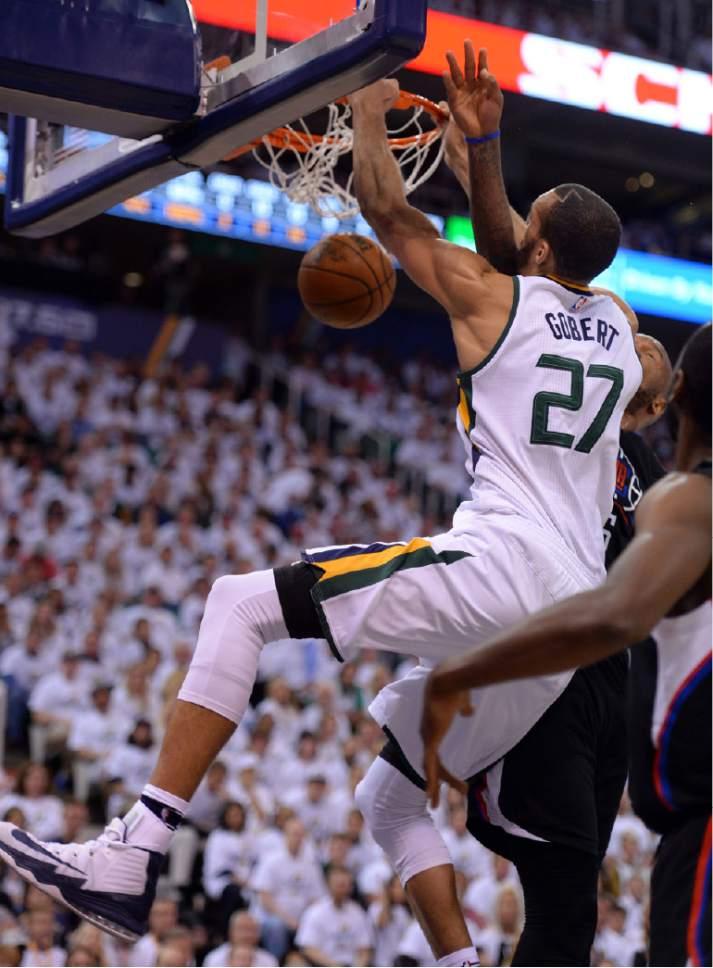 Steve Griffin  |  The Salt Lake Tribune   Utah Jazz center Rudy Gobert (27) slams the ball during the Jazz versus Clippers NBA playoff game at Viviint Smart Home arena in Salt Lake City Sunday April 23, 2017.