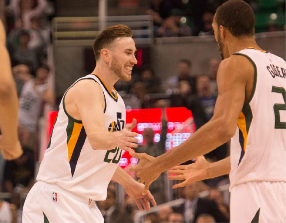 Rick Egan  |  The Salt Lake Tribune  Utah Jazz forward Gordon Hayward (20) is congratulated by Rudy Gobert (27) after Hayward put the Jazz ahead with a 3 point shot, in NBA action Utah Jazz vs. LA Clippers, in Salt Lake City, Monday, March 13, 2017.