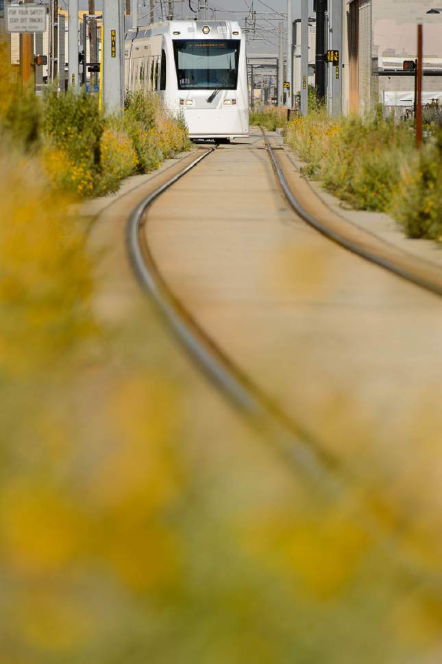 Trent Nelson  |  The Salt Lake Tribune The Sugar House streetcar S-Line moves onto the single track part of the line at 500 East in Salt Lake City, Tuesday June 27, 2017.