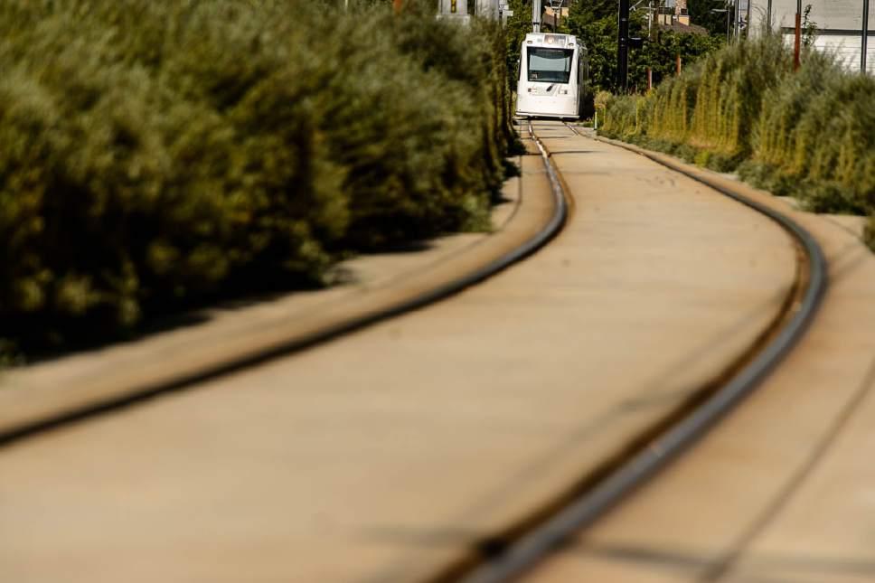 Trent Nelson  |  The Salt Lake Tribune The Sugar House streetcar S-Line in Salt Lake City, Tuesday June 27, 2017.