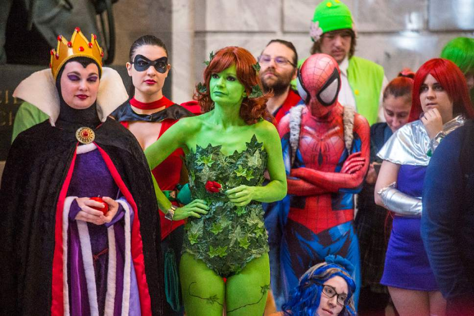 Chris Detrick  |  The Salt Lake Tribune Cosplayers listen during a press conference for Salt Lake Comic Con at the Utah State Capitol Wednesday, May 17, 2017.
