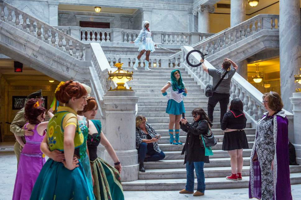 Chris Detrick  |  The Salt Lake Tribune Cosplayers pose for photos during a press conference for Salt Lake Comic Con at the Utah State Capitol Wednesday, May 17, 2017.