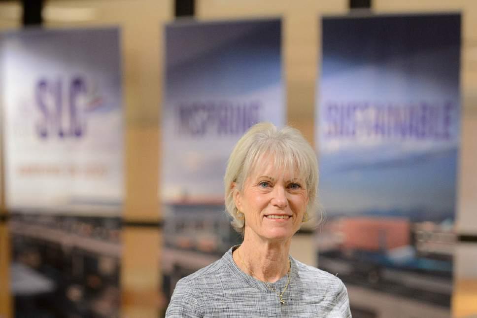 Trent Nelson  |  The Salt Lake Tribune   Maureen Riley is retiring as executive director of the Salt Lake City International Airport.  Friday, June 23, 2017.