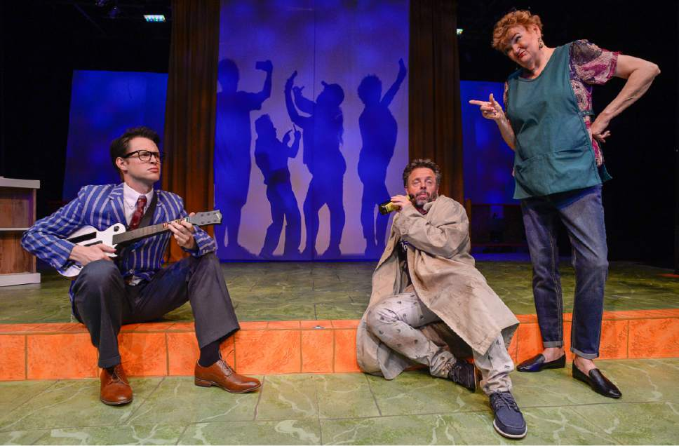 "Francisco Kjolseth | The Salt Lake Tribune Salt Lake Acting Company's new ""Saturday's Voyeur"" show has a spy-versus-spy plot line for 2017, with music inspired by ìMission: Impossibleî and James Bond themes. Pictured from left are CJ Strong, Dan Larrinaga and Annette Wright."