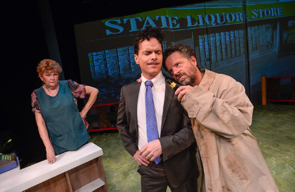 "Francisco Kjolseth | The Salt Lake Tribune Salt Lake Acting Company's new ""Saturday's Voyeur"" show has a spy-versus-spy plot line for 2017, with music inspired by ìMission: Impossibleî and James Bond themes. Pictured are Annette Wright, Eric Lee Brotherson as Congressman Jason Chaffetz and Dan Larrinaga."